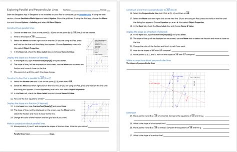 3 Oa 5 Worksheets by Slopes Of Parallel And Perpendicular Lines Worksheet