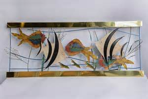 tropical fish in aquarium metal wall sculpture signed c