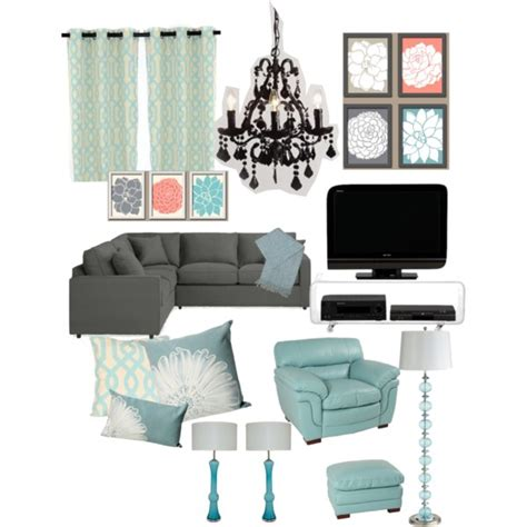 Aqua Themed Bedroom by Gray Aqua Themed Living Room Polyvore
