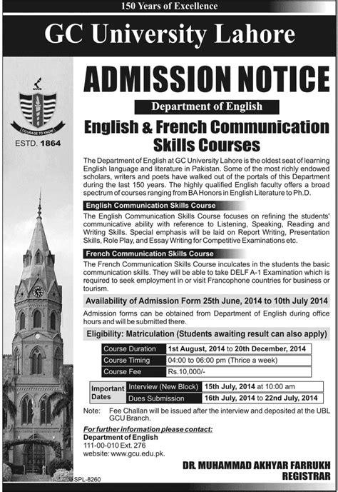 Mba Gcu Lahore by Gc Lahore Courses Admission 2014