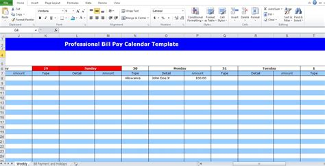 Professional Bill Pay Calendar Template Excel Tmp Bill Pay Template