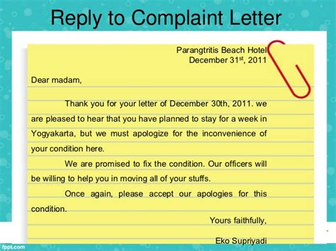 Response Letter For Hotel Accommodation Writing Complaint Letter