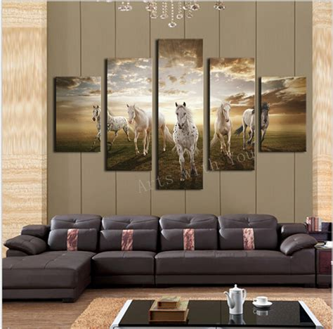 hd home decor 5 pcs high quality cheap art pictures running horse large