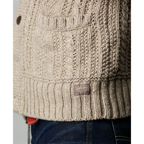cable knit shawl lyst denim supply ralph shawl collar cable knit