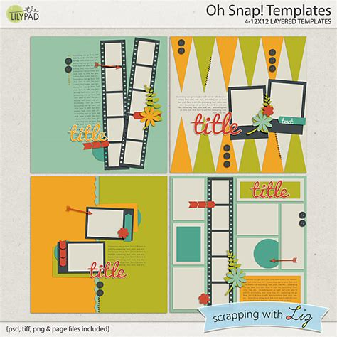 digital scrapbook template oh snap scrapping with liz