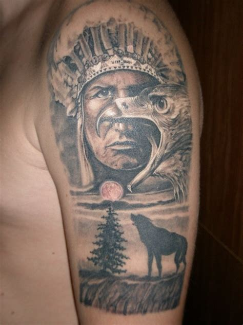 hindi tattoo indian with eagle and wolf on shoulder