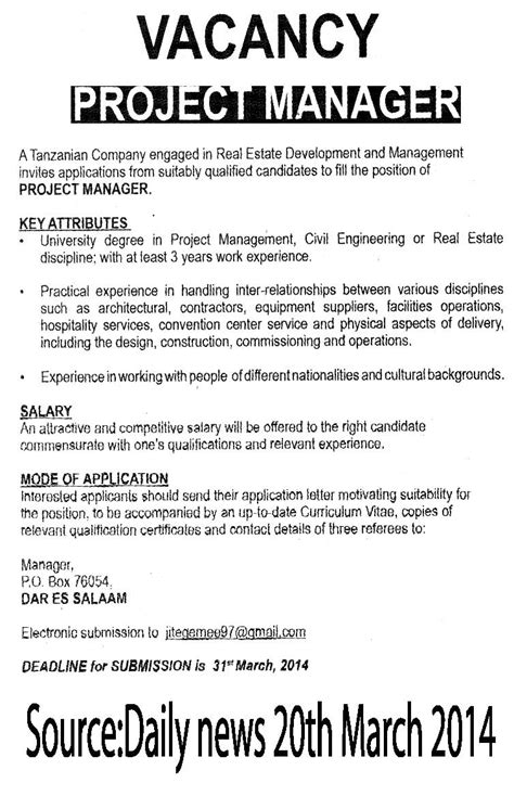Architectural Project Manager Description by Project Manager Tayoa Employment Portal