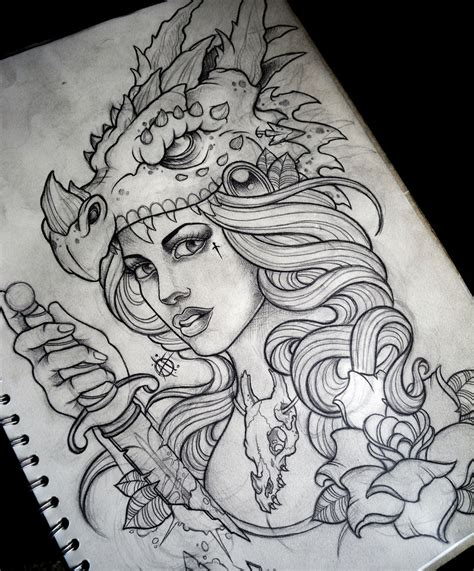 tattoo sketch paper dragon hunter by frosttattoo on deviantart