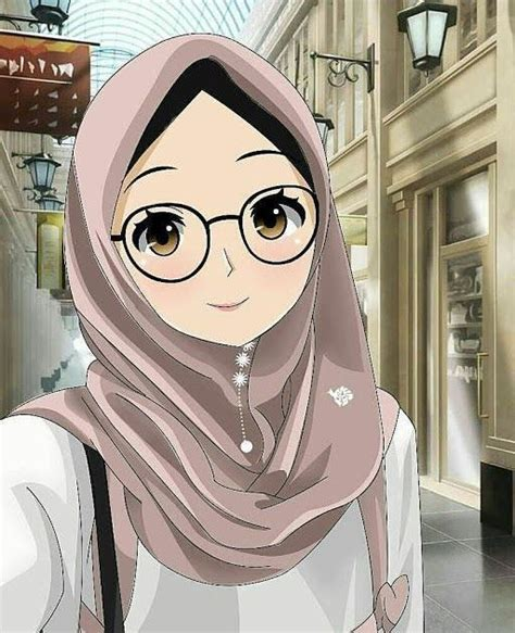 gambar kartun berhijab  foto profil