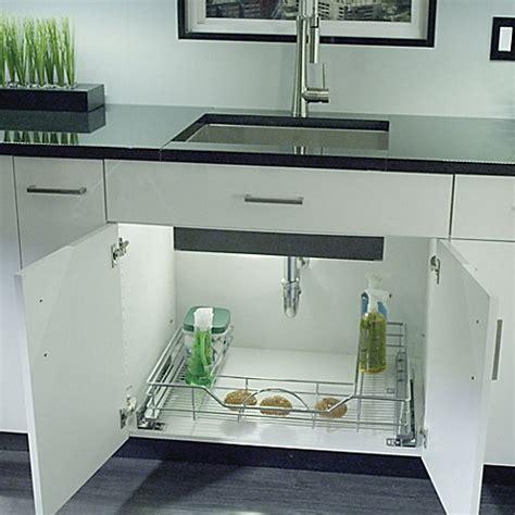 rev a shelf under pull out chrome caddy buy rev a shelf 33 inch under organizer from bed bath