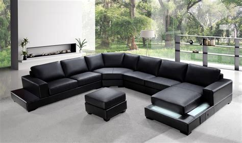 U Shaped Leather Sofa Ritz Modern Black Leather Quot U Quot Shaped Sectional Sofa