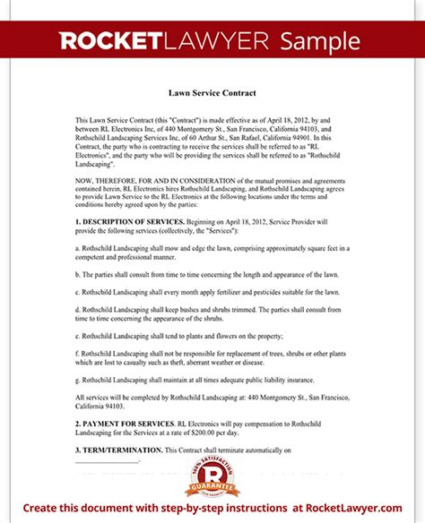 lawn care business plan template free lawn service contract template with sle