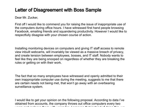 Evaluation Disagreement Letter Letter Of Disagreement