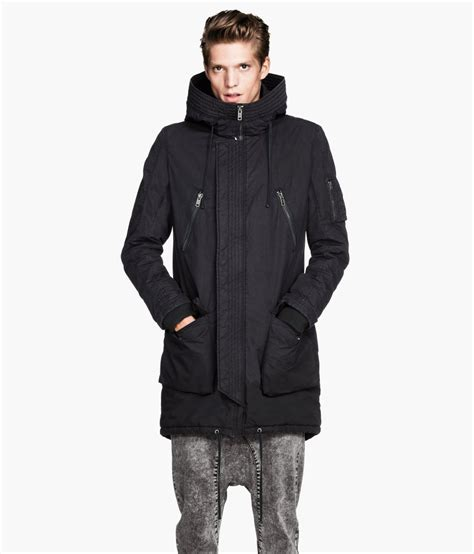 Padded Parka lyst h m padded parka in black for