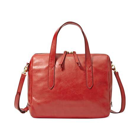 Tas Fossil Sydney Satchel Real fossil handbag sydney leather satchel in real lyst
