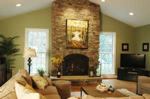 Living Room With Cathedral Ceiling Stacked Rock Fireplace Living Room Contemporary With Beige Wall Brown Beeyoutifullife