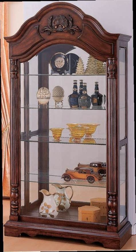 wood and glass curio cabinet denton cherry wood glass curio cabinet w light acme