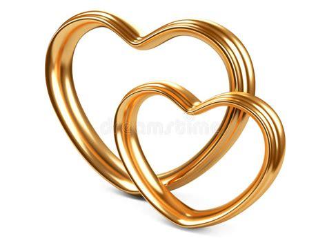 golden couple have big hearts form mit zwei goldene herzen stock abbildung