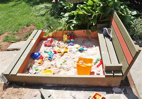 sandbox with bench diy sandbox with lid benches stately kitsch