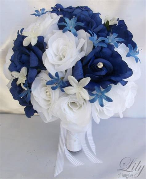 lilim darkness wedding blue 17 pieces package silk flower wedding decoration bridal