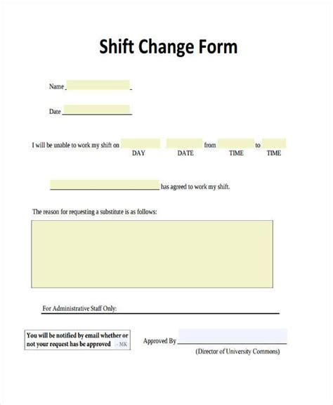 Shift Change Request Letter Sle Sle Employee Shift Change Forms 7 Free Documents In Word Pdf