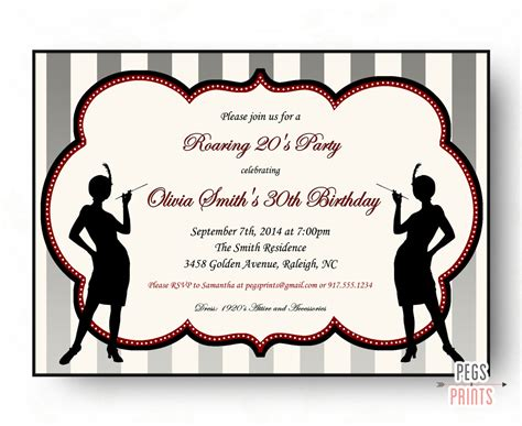 Roaring 20 S Invitations Roaring 20s Invitation Template Free