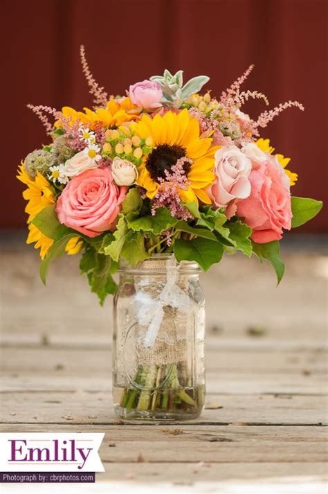 Sunflower Arrangements For Weddings by Sunflower And Coral Roses Bridal Bouquet Sunflower