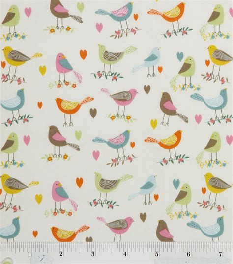 Bird Quilting Fabric by Novelty Quilt Fabric White Birds Looking Around Jo