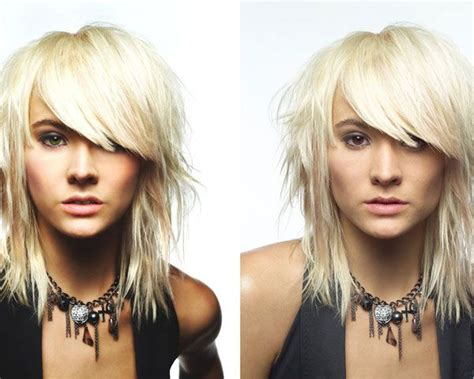 heavily layered shoulder length hairstyles layered shoulder length cut with heavy bangs hair ideas