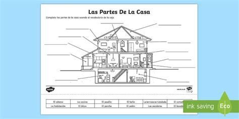 parts of the house in spanish spanish parts of a house activity sheet worksheet
