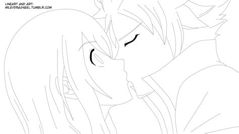 natsu and lucy kiss lineart by lucyheartfiliar on deviantart