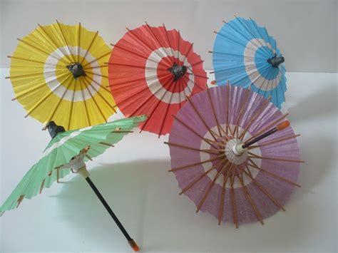 Cherry Blossom Home Decor by Set Of 5 Japanese Hand Made Kasa Multi Color Mini Umbrella
