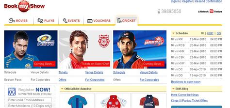 bookmyshow mohali book and buy ipl 2010 tickets online for all venues