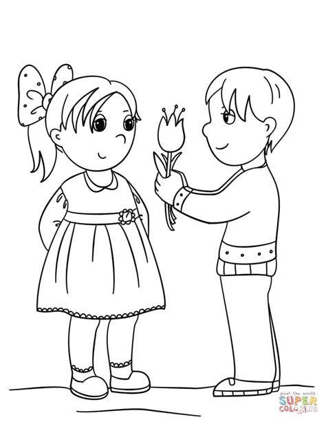boy  flower  girl coloring page  printable