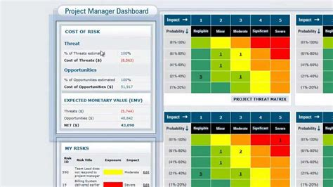Vue Matrix Project Risk Management Software The Portfolio Manager Project Manager Dashboard Risk Management Dashboard Template Excel