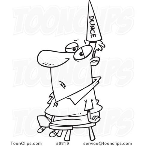 dunce hat template black and white line drawing of a wearing a