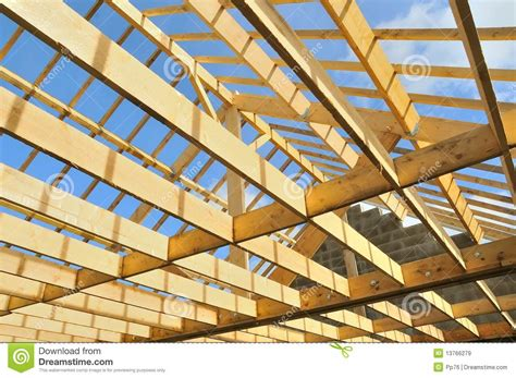 Skeleton Pose Construction wood skeleton of a house in construction stock image