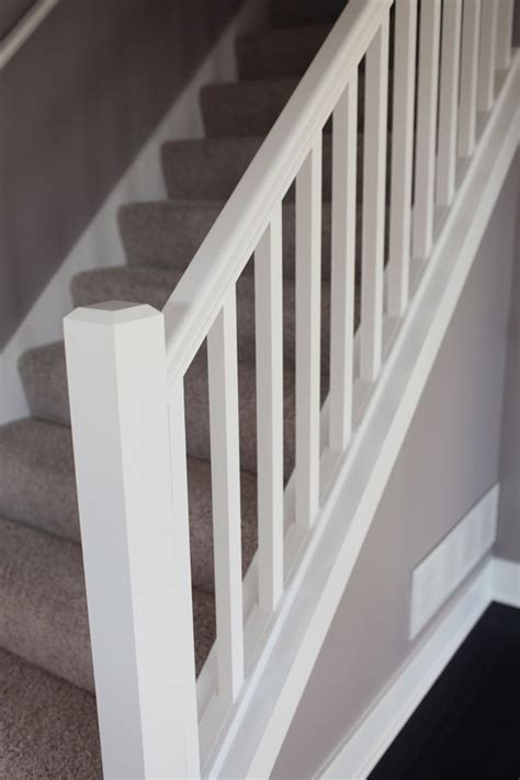 White Banister Rail by Simple White Staircase Housey Home