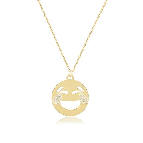 emoji necklace ingenious gold emoji necklace with laughing tears