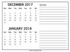 December And January Calendar December 2017 Calendar January 2018 Calendar Printable