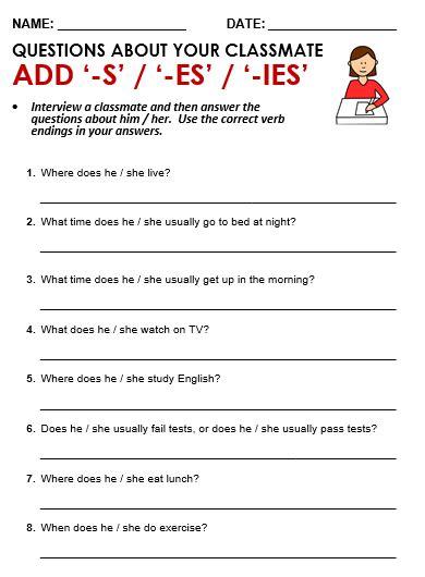 s and es endings worksheets add s or es or ies all things grammar