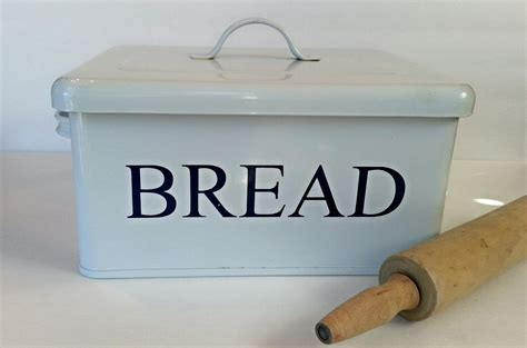 Tall Kitchen Bin by Enamelware Bread Box White Metal Bread Box Farmhouse