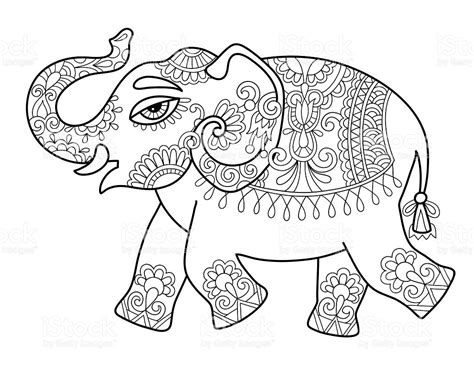 hindu elephant coloring page ethnic indian elephant line original drawing adults