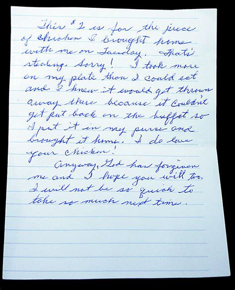 Apology Letter Stealing Kfc Thief Sends 2 And Apology Letter