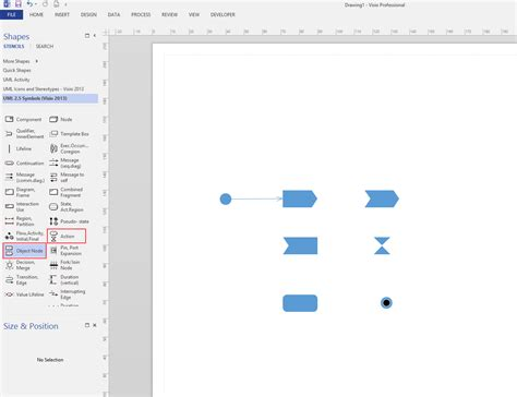 uml visio 2013 where are the signal shapes stack