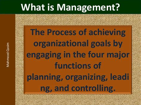 What Is Mba In Management by Mahmood Qasim Slides Introduction To Management For Bba