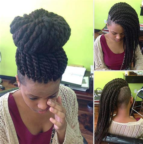 braids into a french roll with sides shaved dope by narahairbraiding http community