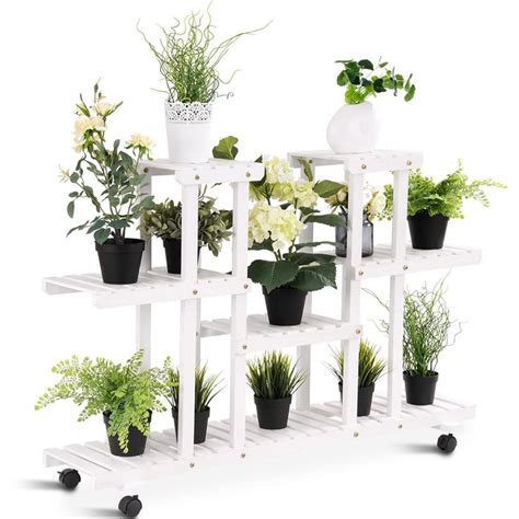 giantex rolling flower rack wood plant stand  wheels