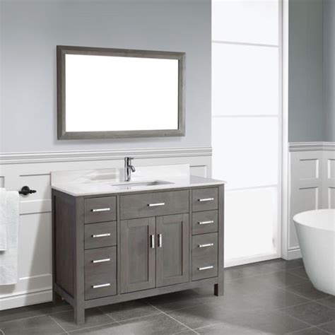 Grey Bathroom Vanity by Traditional Bathroom Vanity Kalize 48 Gray Finish